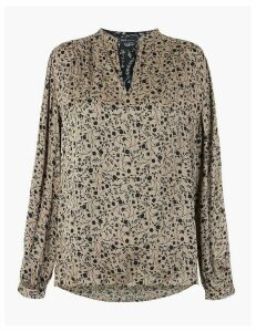 M&S Collection Satin Floral Relaxed Fit Popover Blouse