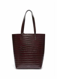 Croc embossed leather tote bag