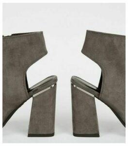 Grey Suedette Lace Up Peep Toe Heels New Look Vegan