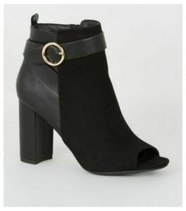 Black Mixed High Vamp Peep Toe Boots New Look Vegan