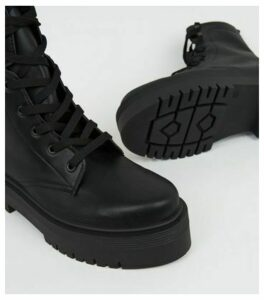 Black Leather-Look Chunky Lace Up Boots New Look Vegan