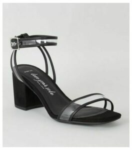Wide Fit Black Clear Strap Block Heels New Look