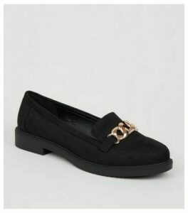 Black Suedette Metal Chain Loafers New Look