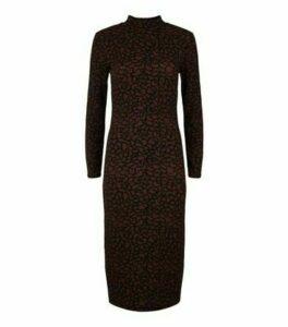 JDY Rust Leopard Print Long Sleeve Midi Dress New Look