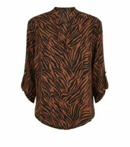 Apricot Rust Zebra Print Dip Hem Shirt New Look