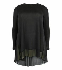 Curves Black Fine Knit Chiffon Hem Oversized Top New Look