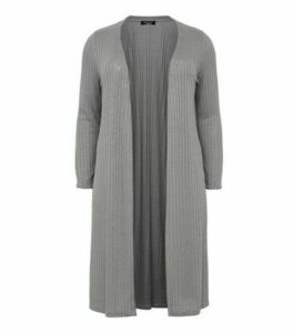 Curves Grey Ribbed Fine Knit Midi Cardigan New Look