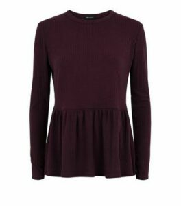 Burgundy Ribbed Long Sleeve Peplum Top New Look