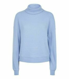 Blue Brushed Waffle Knit Roll Neck Jumper New Look