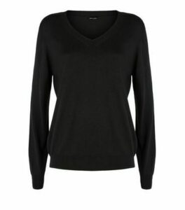 Black Fine Knit V Neck Jumper New Look