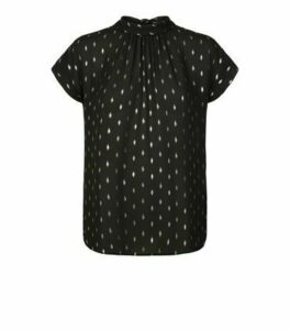 Black Chiffon Metallic Spot Tie Back Blouse New Look