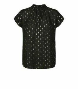 Black Chiffon Metallic Spot Tie Back Blouse New Look