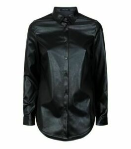 Black Leather-Look Long Sleeve Shirt New Look