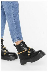 Womens Break The Jewels Faux Leather Chunky Boots - Black - 8, Black