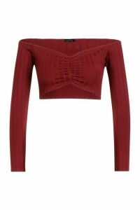 Womens Ribbed Off The Shoulder Crop Top - red - 6, Red