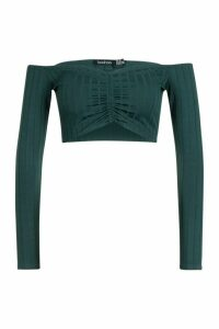 Womens Ribbed Off The Shoulder Crop Top - green - 16, Green
