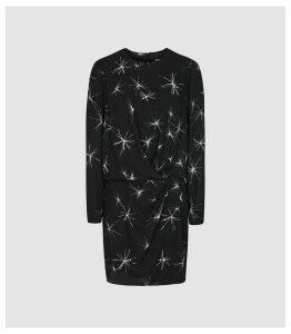 Reiss Gabby - Star Embellished Mini Dress in Black, Womens, Size 18
