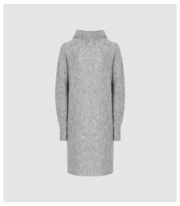 Reiss Nicole - Ribbed Jumper Dress in Grey, Womens, Size XL