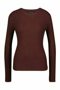 Womens Crew Neck Jumper - brown - L, Brown