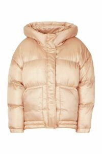 Womens Satin Hooded Puffer Jacket - Beige - 16, Beige