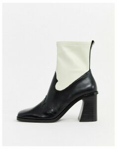 Mango leather western two tone boots in multi