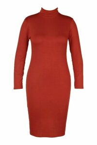 Womens Plus Long Sleeve Roll Neck Midi Dress - orange - 20, Orange