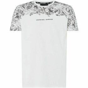 Criminal Damage Panelled Pattern T-Shirt