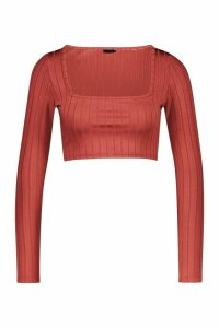 Womens Ribbed Long Sleeve Crop Top - orange - 16, Orange