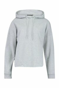 Womens Tall Roll Hem Hoody - grey - 16, Grey