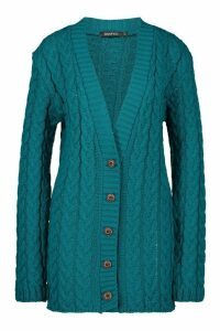 Womens Cable Knit Cardigan - green - M/L, Green