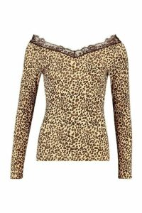 Womens Tall Leopard Print Lace Trim Top - multi - 14, Multi