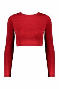 Womens Long Sleeve Slinky Disco Crop Top - red - 16, Red