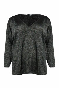 Womens Plus V Neck Split Side Glitter Jumper - black - 14, Black