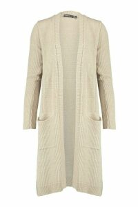 Womens Petite Midi Length Cardigan With Pockets - beige - 6, Beige