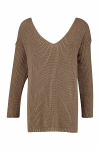 Womens Tall V-Neck Jumper - beige - S/M, Beige