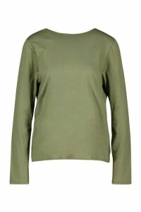 Womens Tall Long Sleeve Knot Back T-Shirt - green - 10, Green