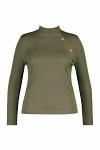 Womens Plus Gold Button Rib High Neck Jumper - green - 16, Green