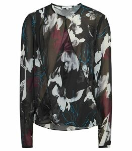 Reiss Como - Draped Printed Blouse in Multi, Womens, Size 14
