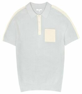 Reiss Albion - Knitted Polo Shirt in Soft Blue, Mens, Size XXL