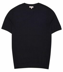 Reiss Carlton - Knitted Crew Neck Top in Navy, Mens, Size XXL