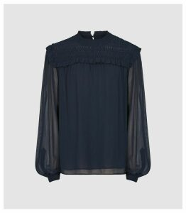 Reiss Anoushka - Semi Sheer Pleat Detailed Blouse in Navy, Womens, Size 16