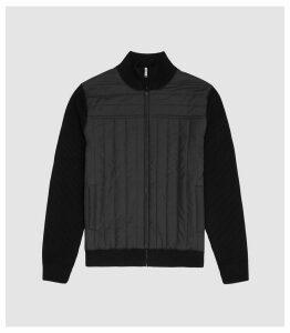 Reiss Quentin - Quilted Zip Through in Black, Mens, Size XXL