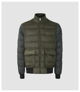 Reiss Pugba - Quilted Jacket With Contrast Sleeves in Khaki, Mens, Size XXL