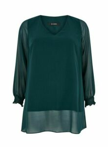 Green Shirred Cuff Overlay Tunic Top, Green