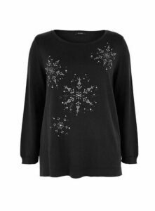 Black Snowflake Embellished Christmas Jumper, Black