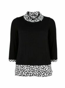 Black Floral Print 2-In-1 Top, Black