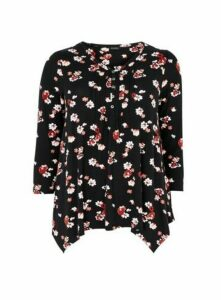 Black Daisy Floral Print Pintuck Top, Black