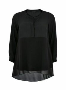 Black Chiffon Mix Dipped Blouse, Black