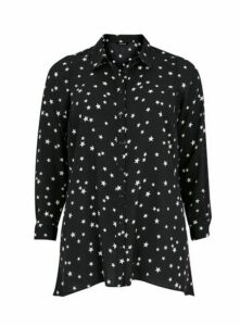 Black Star Print Shirt, Black
