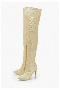 Womens Glitter Stiletto Heel Over The Knee Boots - metallics - 8, Metallics